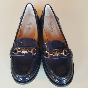 Topshop Blue leather Loafer Flats